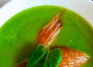 рецепт Шпинатный суп-пюре с копченым лососем