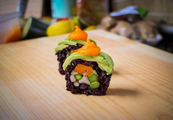 Веганский суши ролл с грибами рецепт с фото